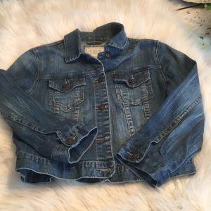 Hollister I Love H81 Denim Jacket In Large EUC